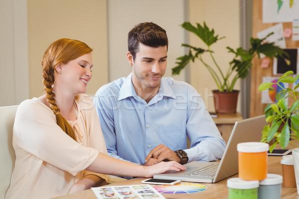 деловые люди цифровой таблетка столе используя ноутбук Creative Сток-фото © wavebreak_media