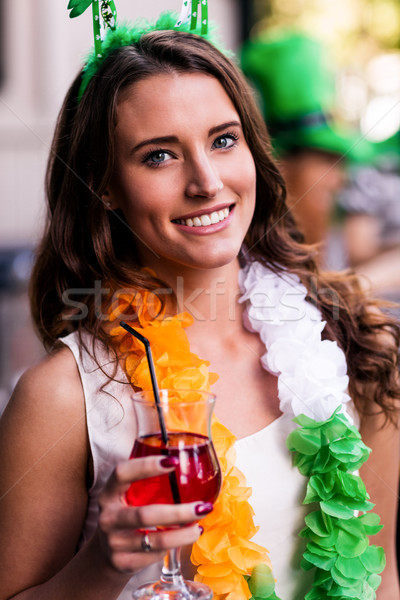 Stock photo: Portrait of woman celebrating St Patricks day