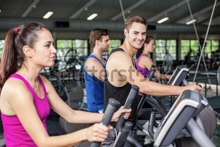 Uygun grup insanlar egzersiz bisiklet birlikte crossfit Stok fotoğraf © wavebreak_media