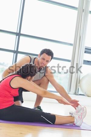 Geschikt vrouw enkel pijn crossfit gelukkig Stockfoto © wavebreak_media
