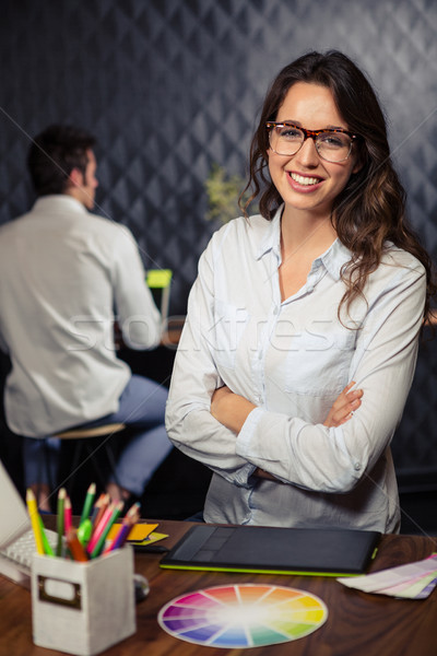 Criador empresária brasão dobrado escritório negócio Foto stock © wavebreak_media
