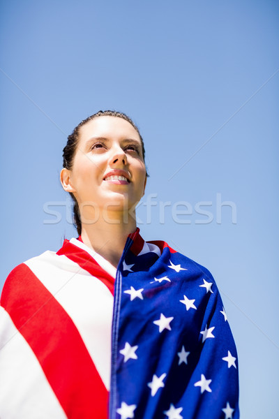 Női atléta amerikai zászló boldog győzelem nő Stock fotó © wavebreak_media