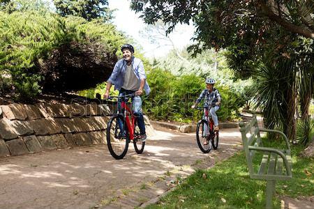 Stock fotó: Női · motoros · áll · hegyi · kerékpár · erdő · portré