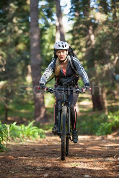 Femminile montagna equitazione bicicletta foresta Foto d'archivio © wavebreak_media
