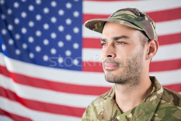солдата американский флаг человека флаг весело Сток-фото © wavebreak_media