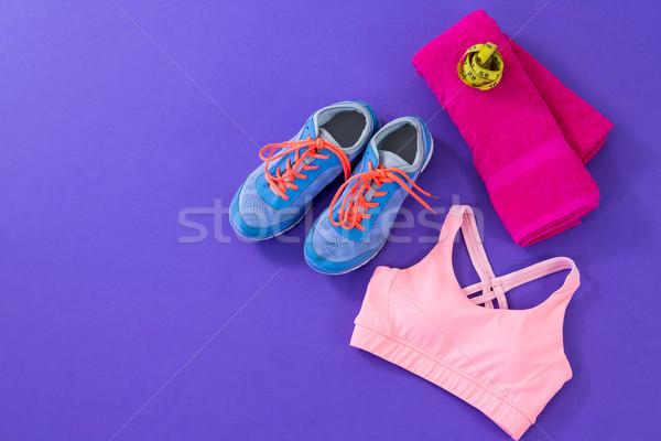 Sneakers, sports bra, towel and measuring tape Stock photo © wavebreak_media