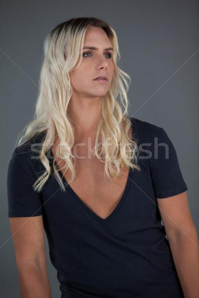 トランスジェンダー 女性 長い ブロンド 髪 電話 ストックフォト © wavebreak_media
