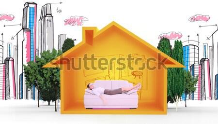 Obraz ojciec christmas kanapie domu Zdjęcia stock © wavebreak_media