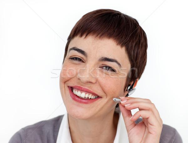 Séduisant service clients représentant casque blanche bureau Photo stock © wavebreak_media