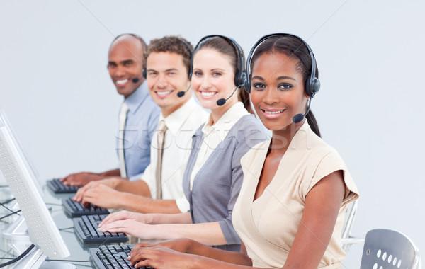 Internacional servicio al cliente auricular ordenador feliz Foto stock © wavebreak_media