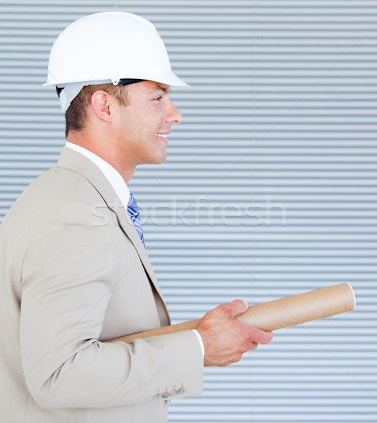Retrato arquiteto capacete de segurança diagrama Foto stock © wavebreak_media