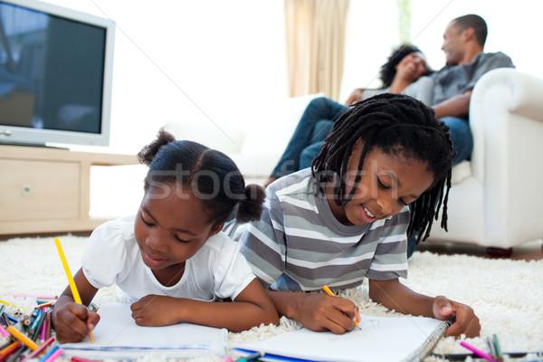 Animado crianças desenho piso pais família Foto stock © wavebreak_media