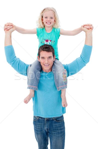 Szőke kislány élvezi háton apa fehér Stock fotó © wavebreak_media