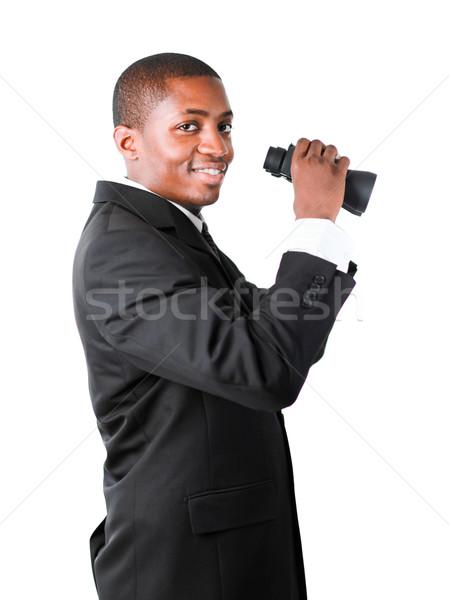 Freundlich Geschäftsmann halten Fernglas ethnischen schauen Stock foto © wavebreak_media
