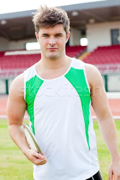 Сток-фото: портрет · мужчины · спортсмена · обсуждение · стадион