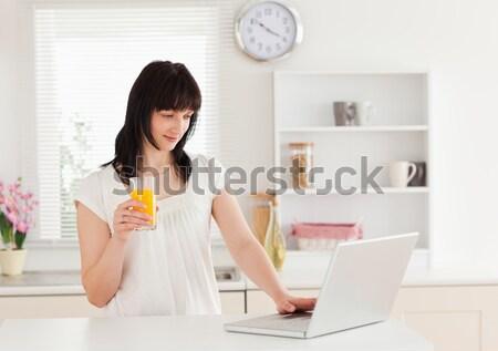Bonne recherche femme détente portable cuisine internet Photo stock © wavebreak_media