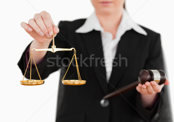 женщину молоток Весы правосудия белый Сток-фото © wavebreak_media