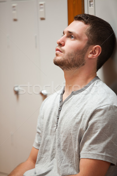 Porträt junger Mann Schließfach Hände Gesicht Stock foto © wavebreak_media