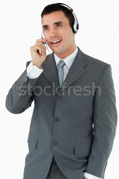 Mannelijke call center agent naar praten witte Stockfoto © wavebreak_media