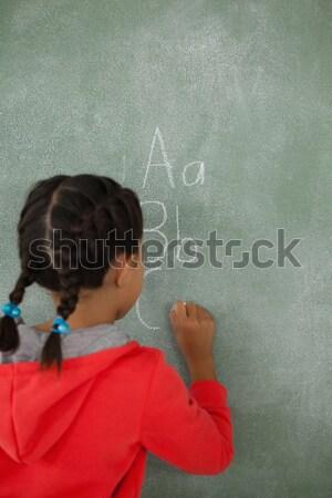 Stockfoto: Schoolmeisje · poseren · tekstballon · klas · school · onderwijs