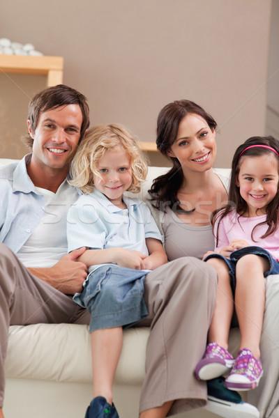 Сток-фото: портрет · семьи · Смотря · телевизор · вместе · гостиной · домой