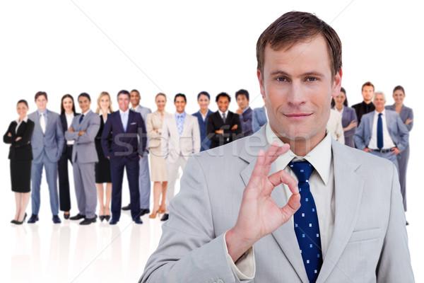 Férfi kézmozdulat fehér férfi fehér üzletemberek csapat Stock fotó © wavebreak_media