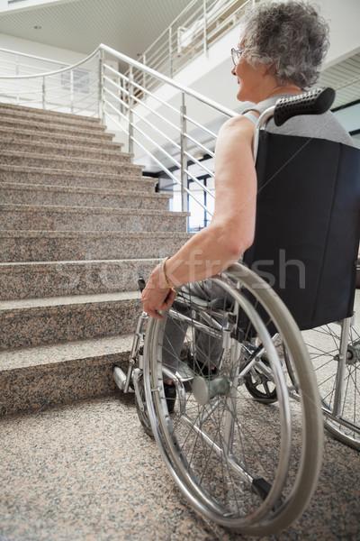 пожилого Lady коляске больницу лестницы Сток-фото © wavebreak_media