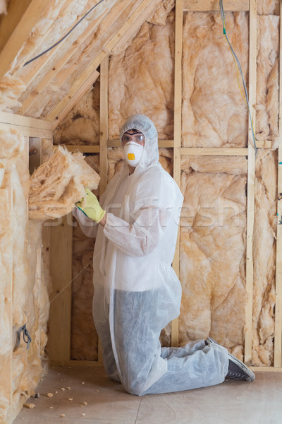 Worker filling walls with insulation in construction site Stock photo © wavebreak_media