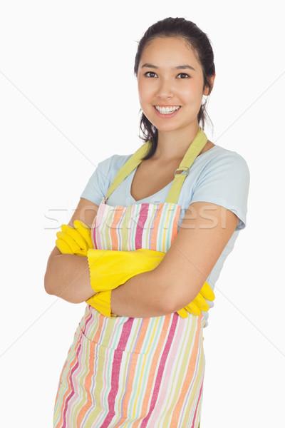 Lächelnd Arme tragen Gummihandschuhe Schürze Stock foto © wavebreak_media