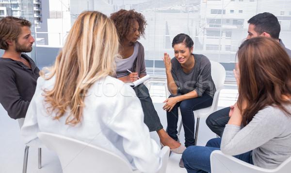 ストックフォト: 女性 · 落ち込んで · グループ · 療法 · 座って · 椅子