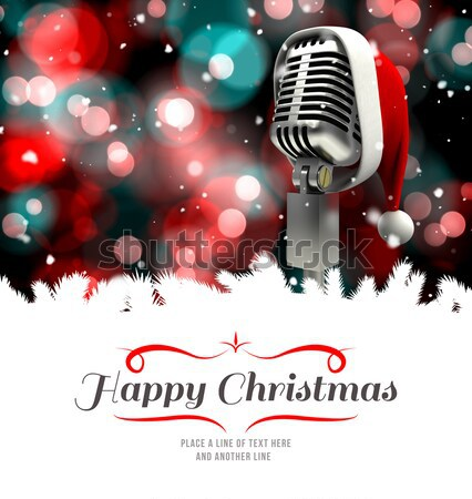 Composite image of microphone with santa hat Stock photo © wavebreak_media