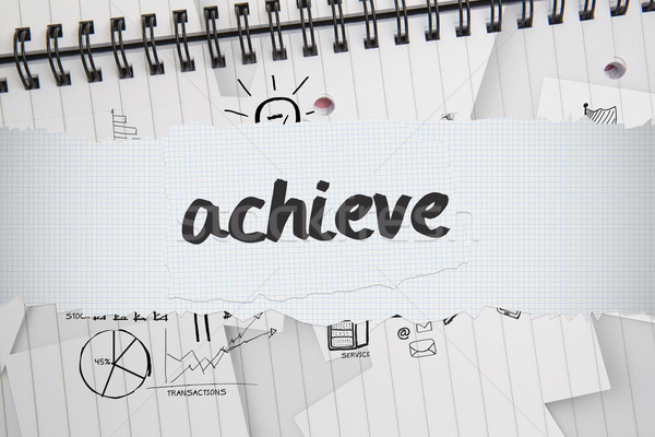 Achieve against brainstorm doodles on notepad paper Stock photo © wavebreak_media