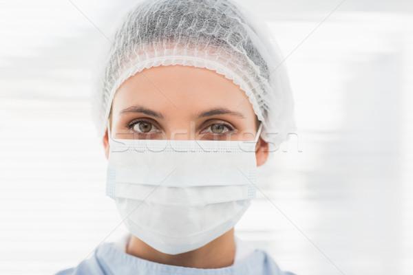 Női sebész visel sebészi sapka maszk Stock fotó © wavebreak_media