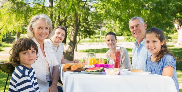 Uitgebreide familie lunch gazon portret vrouw familie Stockfoto © wavebreak_media