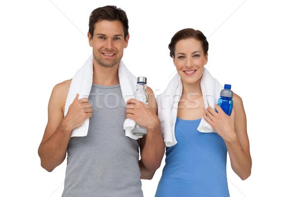 портрет счастливым соответствовать пару воды бутылок Сток-фото © wavebreak_media
