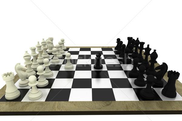 Blanco negro piezas de ajedrez bordo blanco ajedrez equipo Foto stock © wavebreak_media