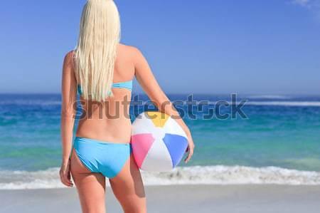 Mid section of fit woman in bikini on the beach Stock photo © wavebreak_media