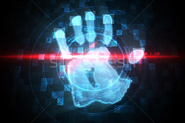 Digitale sicurezza mano stampa scansione blu Foto d'archivio © wavebreak_media