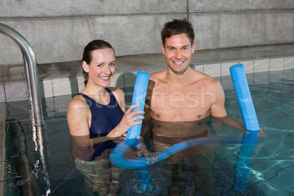 Boldog pár tart hab mosolyog kamera Stock fotó © wavebreak_media