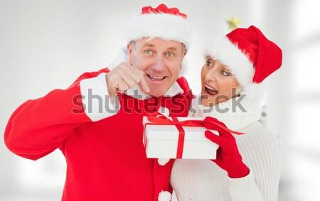 ünnepi idősebb pár mosolyog tart poszter Stock fotó © wavebreak_media
