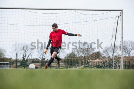 Futbolista azul pelota blanco deporte Foto stock © wavebreak_media