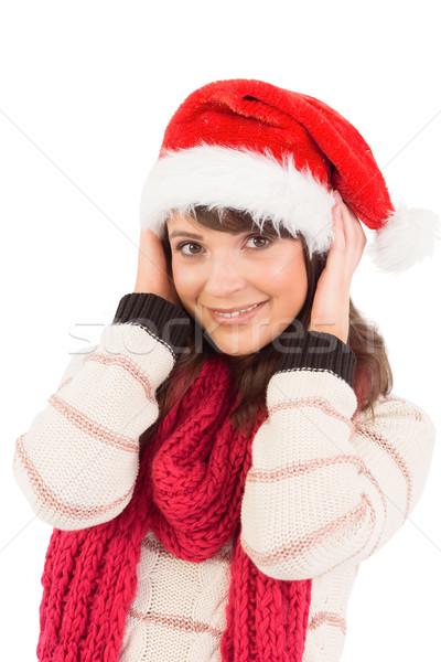 Aranyos barna hajú pózol kezek fej fehér Stock fotó © wavebreak_media