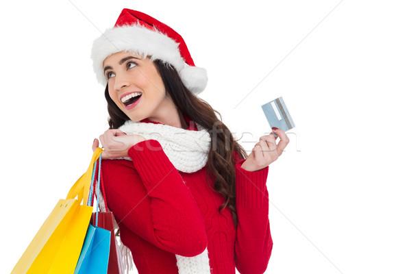 Stockfoto: Feestelijk · brunette · creditcard · witte