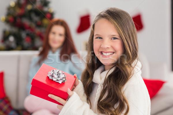 ünnepi kislány tart ajándék otthon nappali Stock fotó © wavebreak_media