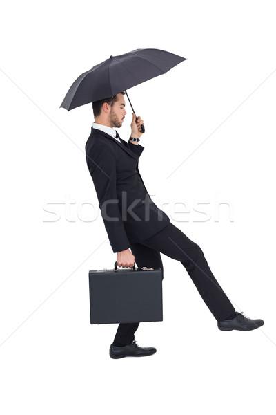 ビジネスマン ブリーフケース 傘 白 スーツ ストックフォト © wavebreak_media