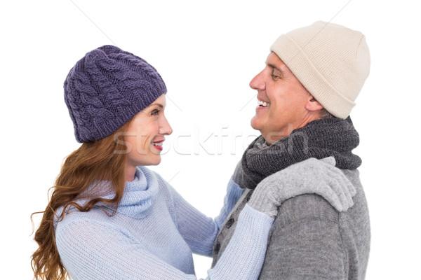 Boldog pár meleg ruha fehér nő női Stock fotó © wavebreak_media