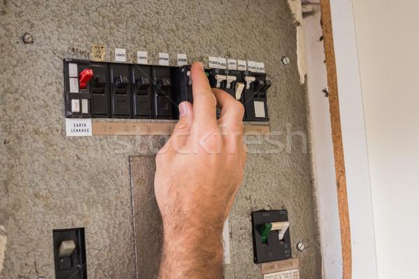 Villanyszerelő dolgozik doboz konyha elektromosság kapcsoló Stock fotó © wavebreak_media
