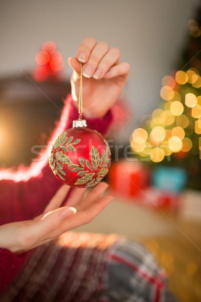 女性 赤 安物の宝石 クリスマス ホーム ストックフォト © wavebreak_media