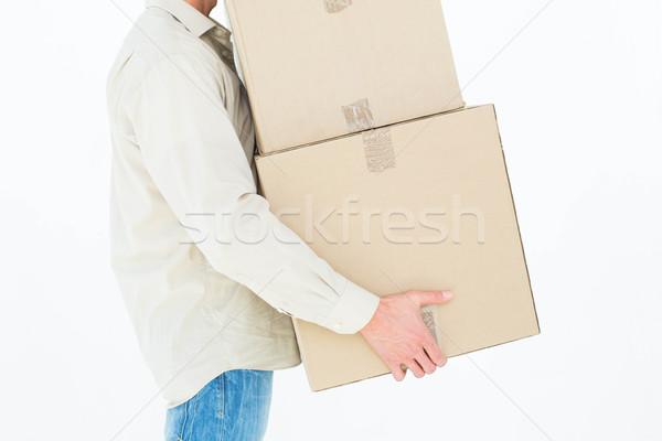 Futár hordoz karton dobozok kép fehér Stock fotó © wavebreak_media
