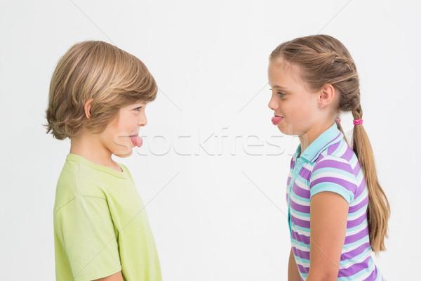 Side view of cute siblings teasing each other Stock photo © wavebreak_media